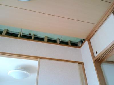 地震で落ちた天井の右端